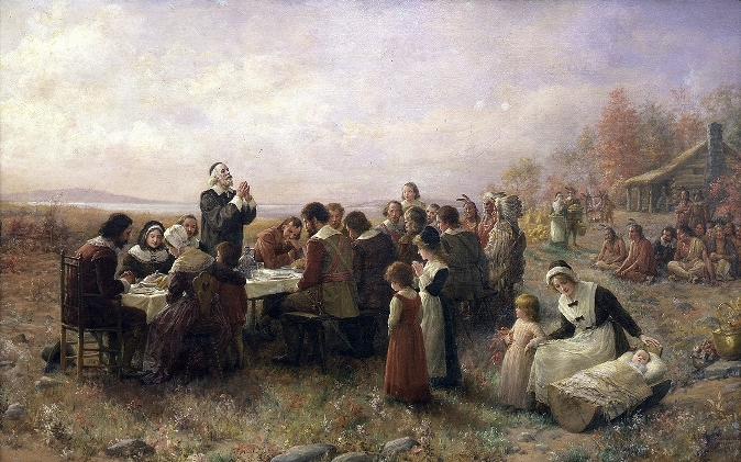 """Thanksgiving-Brownscombe"" by Jennie Augusta Brownscombe"